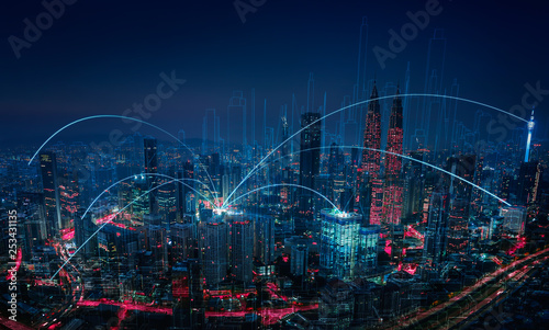 Canvastavla  Modern abstract cityscape and network connection concept .