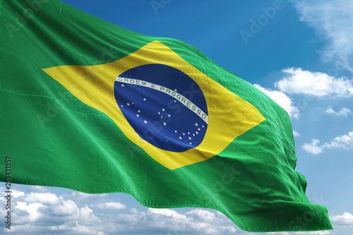 Foto  Brazil flag waving sky background 3D illustration