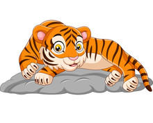 Cartoon Tiger Laying Down On Stone