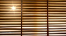 Blinds, Evening Sun Light Outside Wooden Window Blinds, Sunshine And Shadow On Window Blind, Decorative Interior Home Concept