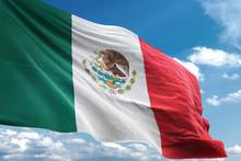 Mexico Flag Waving Sky Backgro...