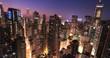 Lights of night city. Hong Kong at dusk after sunset
