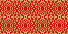Color Seamless Lace Pattern With Abstract Geometric . Stylish Fashion Design Background For Invitation Card. Illustration. Gold Red Color