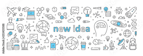 Stampa su Tela  Vector line web concept for new idea