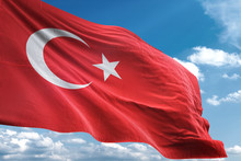 Turkey Flag Waving Sky Backgro...