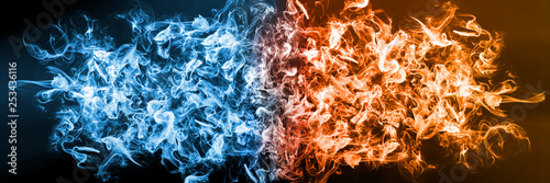 Abstract Fire and Ice element against (vs) each other background Poster Mural XXL