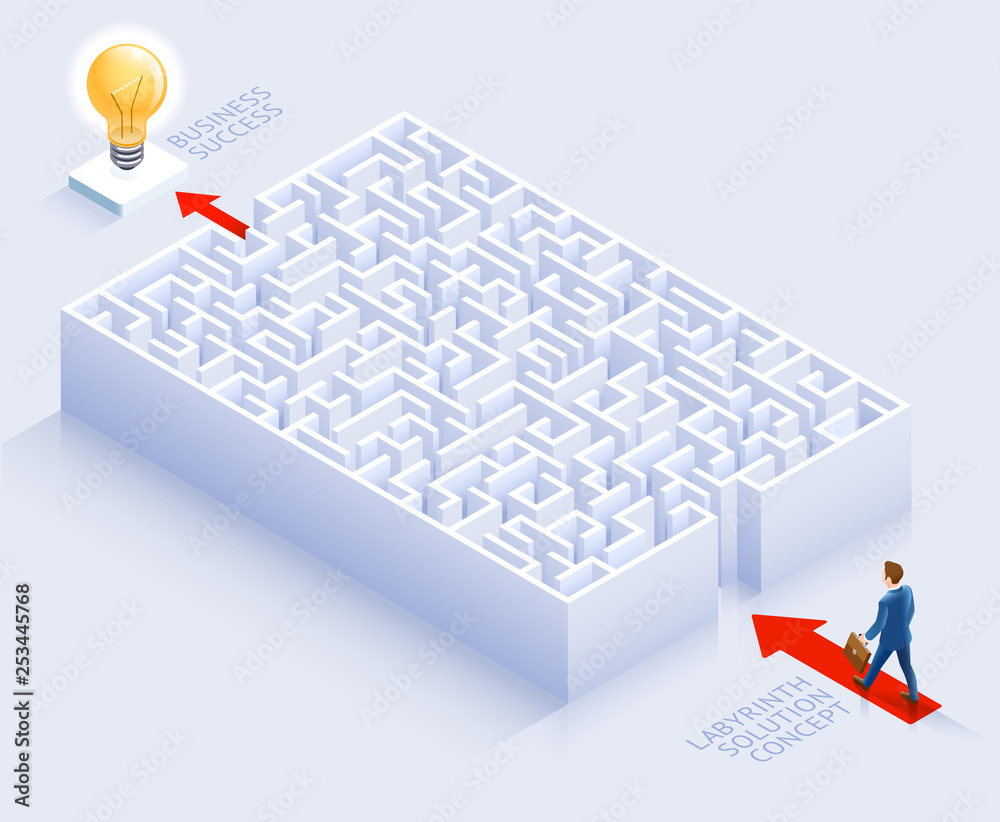 Fototapeta Business solution conceptual design. Businessman standing at labyrinth vector illustration.
