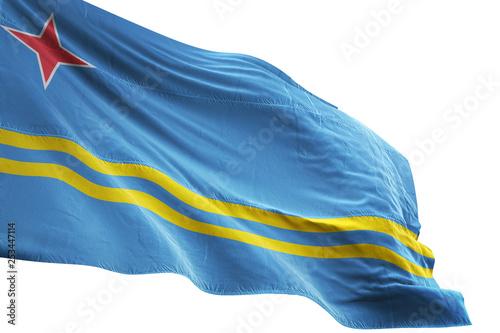 Aruba flag waving isolated white background 3D illustration Canvas Print