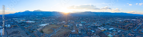 Boulder Colorado City Sunset Panoramic View Flatirons Mountain Landscape Canvas Print