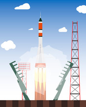 Start Rocket From The Spaceport. Launch Raekty In Space. Vector Illustration