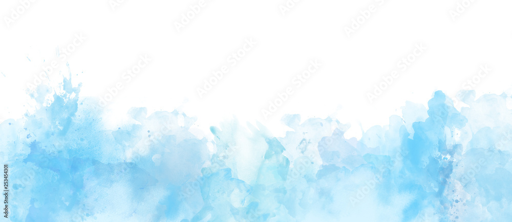 Fototapety, obrazy: Watercolor border isolated on white, artistic background