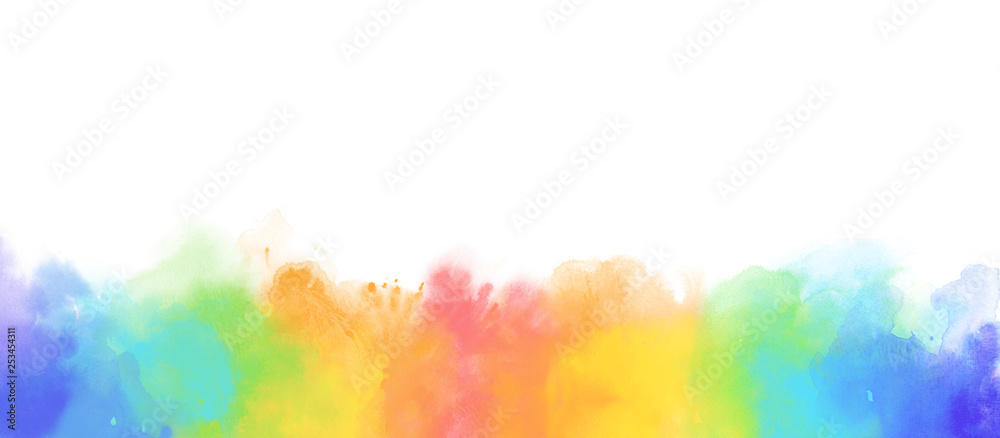 Fototapety, obrazy: Rainbow watercolor border background isolated on white
