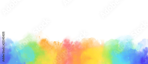 Fotografía  Rainbow watercolor border background isolated on white