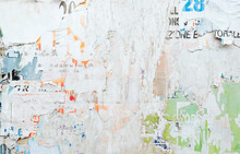 Torn Old Posters On Grunge Bil...