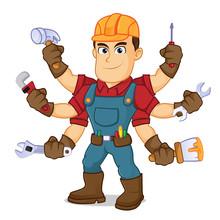 Handyman Holding Mutiple Tools