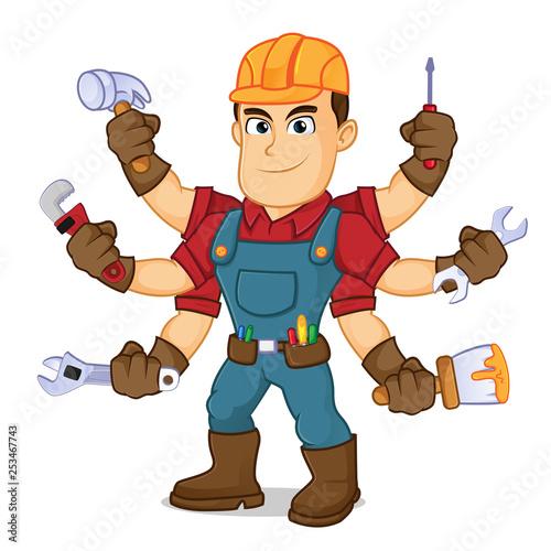 Cuadros en Lienzo  Handyman holding mutiple tools