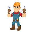 Handyman holding wrench and screwdriver