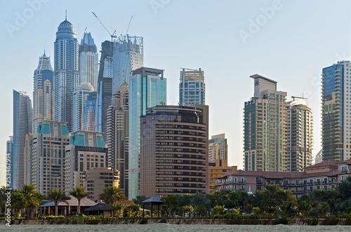 Foto op Plexiglas Panoramafoto s tower skyscrapers buildings Dubai Marina towers, United Arab Emirates