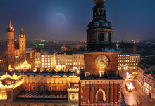 Aerial View Of The Market Square In Krakow, Poland At Night