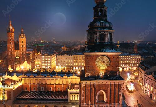 Fototapeta Aerial view of the Market Square in Krakow, Poland at night obraz