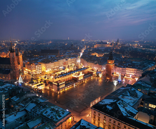 Fototapeta Aerial view of the Market Square in Krakow, Poland at night obraz