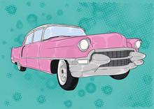 Różowy Cadillac, Caddy, Pink,cartoon