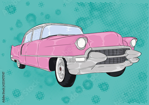 Obraz na plátně różowy cadillac, caddy, pink,cartoon