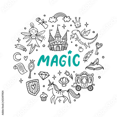 Cute cartoon magic objects. Fairy tale castle, dragon, unicorn, fairy and other elements. Doodle Vector Illustration. Good for a sticker, indie game, greeting card, badges or coloring page.
