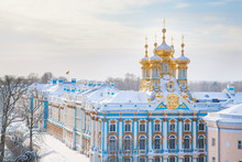 Winter Catherine Palace Architecture With Blue Sky