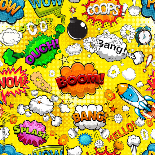 Plakaty Pop Art  comic-speech-bubbles-seamless-pattern-on-yellow-background-illustration