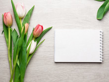 Tulips Wooden Background With Notebook