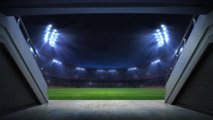 player entrance to illuminated stadium full of fans, football stadium sport t...