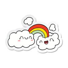 Sticker Of A Happy Cartoon Clo...