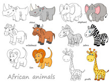 Cartoon African Animals Outlin...