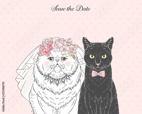 Spoed Fotobehang Halloween White persian cat bride in wedding veil and floral diadem and black cat groom in bow tie. Vector hand drawn animal illustration for save the date wedding party design.