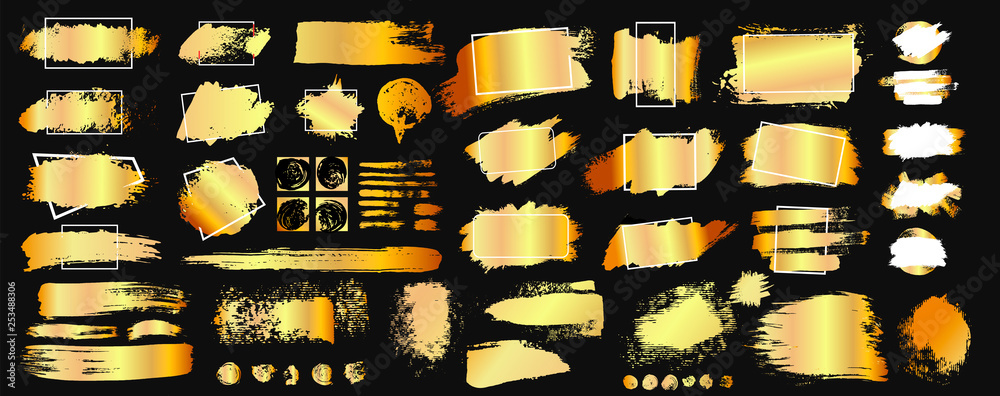 Fototapeta Set of golden grunge hand drawn rough box torn shapes. Edge foil frames. Distressed brush strokes, blots, borders and gold dividers. Vector illustration. Isolated on black background.