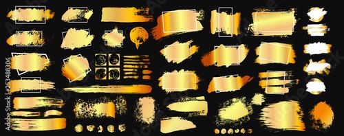 Fotografie, Obraz  Set of golden grunge hand drawn rough box torn shapes