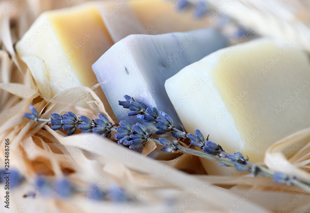 Fototapety, obrazy: Handmade Soap with dried lavender