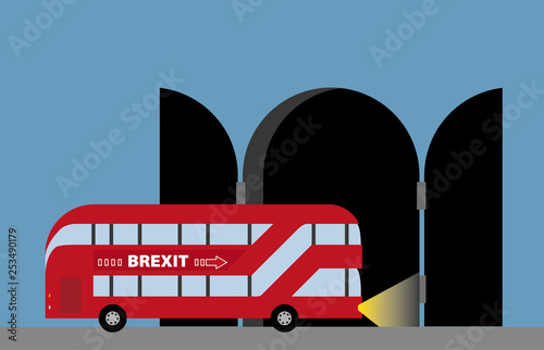 Photo  Brexit illustrated wih a london bus and tunnel