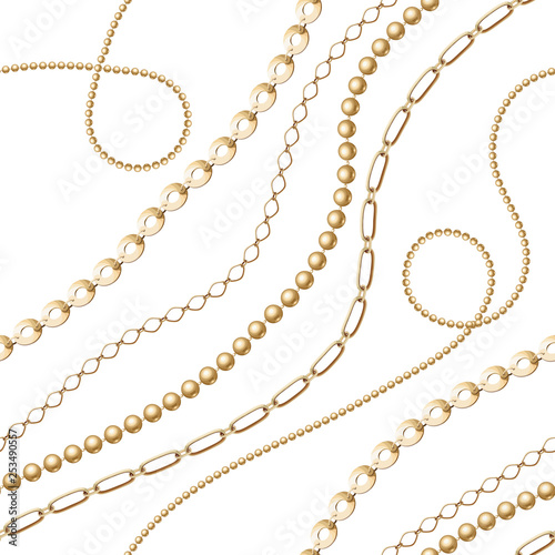 Foto  Gold chain seamless on white background