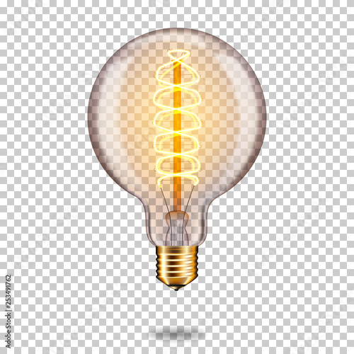 Photo  Realistic transparent glowing vintage light bulb, isolated.