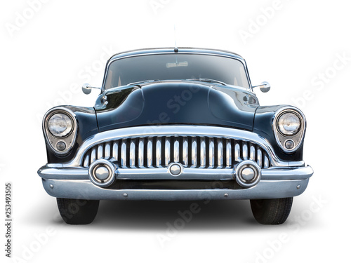 Classic American car isolated on white