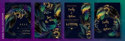 Fotografie, Obraz  Tropical leaves invitation set template