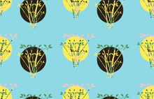 Moons Suns Behind Trees Seamless Pattern In Blue Yellow