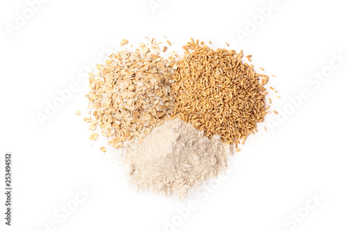 Oats, rolled oats and flour isolated on white background. Canvas-taulu
