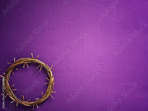 Good Friday, Lent Season and Holy Week concept - A woven crown of thorns on purple background Obraz na płótnie