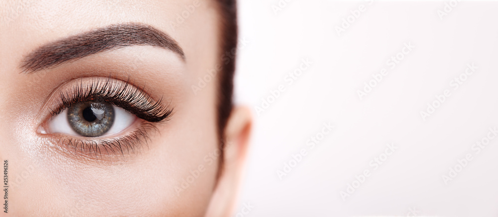 Fototapeta Female Eye with Extreme Long False Eyelashes. Eyelash Extensions. Makeup, Cosmetics, Beauty. Close up, Macro