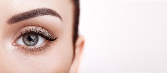 Žensko oko s ekstremno dugim umjetnim trepavicama. Nadogradnja trepavica. Šminka, kozmetika, ljepota. Izbliza, Macro