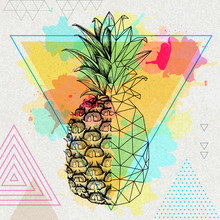 Hipster Realistic And Polygonal Tropic Fruit Pineapple On Artistic Triangle Watercolor Background