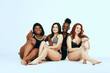 canvas print picture - Multi-ethnic beauty. Different ethnicity women - Caucasian, African, Latin, Hispanic beautiful adult girlfriends posing in underwear isolated over white studio background.